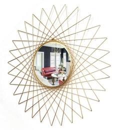 Golden Glass And Metal Makura Wall Mirror