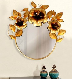Golden Iron & Glass Floral Decorative Mirror