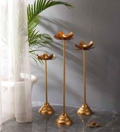 Golden Lotus Tea Light Holder Stand - Set Of 3