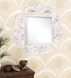 Golden White Engineered Wood Wall Mirror By Home Sparkle - 1621390