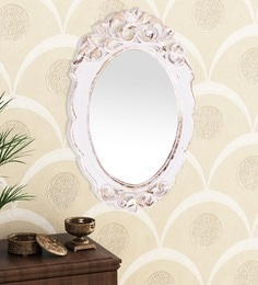 Golden White Engineered Wood Wall Mirror By Home Sparkle - 1621382