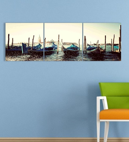 Buy Go Hooked MDF 27 x 9 Inch 3-Panel Boats Wall Decor Online ...
