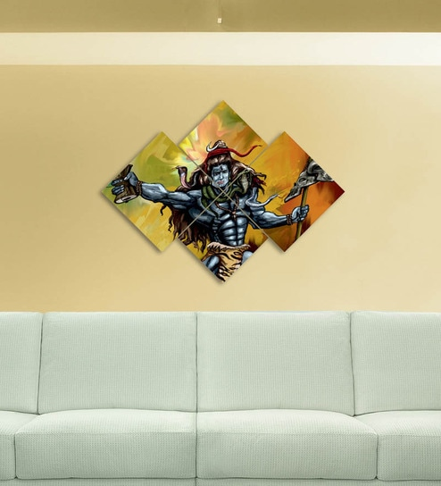 Buy Go Hooked MDF 34 x 24 Inch 4-Panel Lord Shiva Wall Decor Online ...