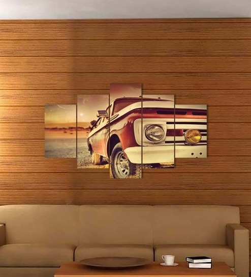 Buy Go Hooked MDF 30 x 18 Inch 30 x 18 Inch 5-panel Vintage Car Wall ...
