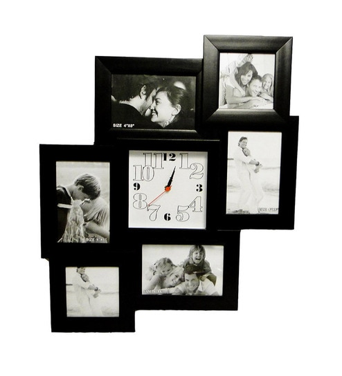 598a55af7a7 Go Hooked Square Collage Frame With Clock by Go Hooked Online - Photo Frames  - Home Decor - Pepperfry Product