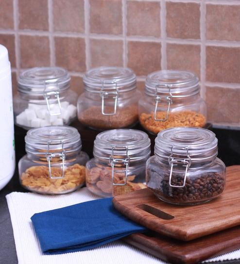Godskitchen 600 ml Air Tight Multipurpose Glass Jar - Set of six