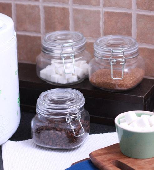 Godskitchen 600 Ml Air Tight Multipurpose Glass Jar - Set of Three