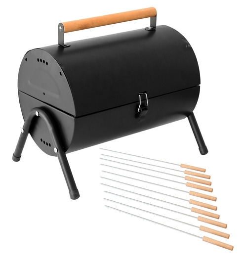 Round Top Lightweight Portable Barbeque Grill U0026 Pack Of 12 Skewers By  GodsKitchen