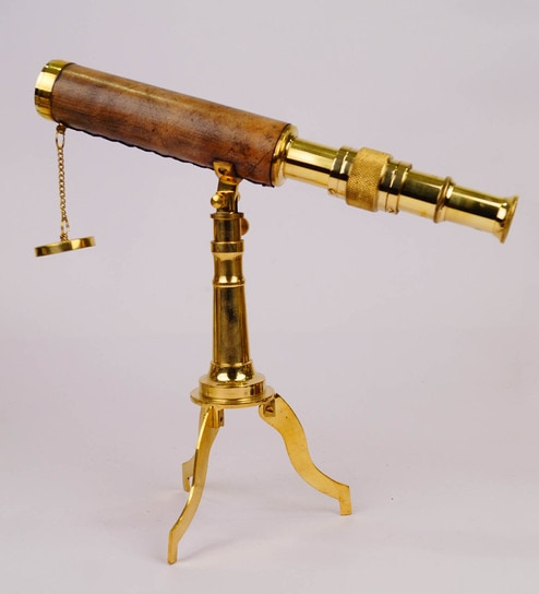 Buy Gold Amp Brown Brass Amp Leather Vintage Table Telescope