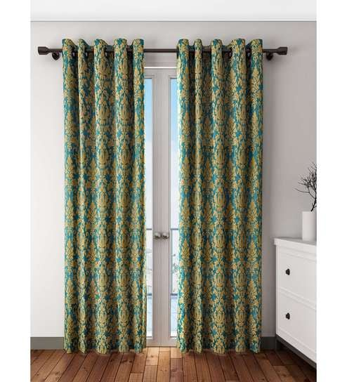 Gold Green Polyester Door Curtain By S9 Home Seasons