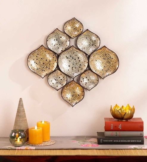 Buy Gold & Silver Metal & Glass Mosaic Wall Art by Global Glory ...