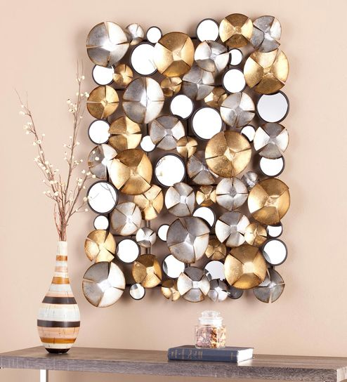 Buy Gold And Silver Cross Circles Metal Wall Decor Sculpture By
