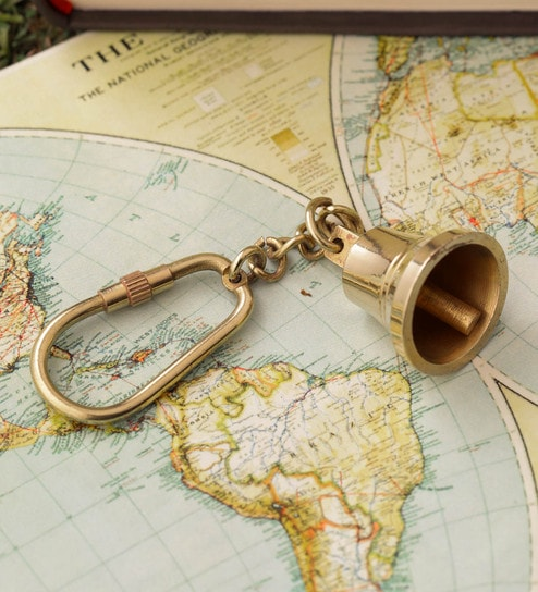 Gold Brass Bell Key Chain by Anantaran