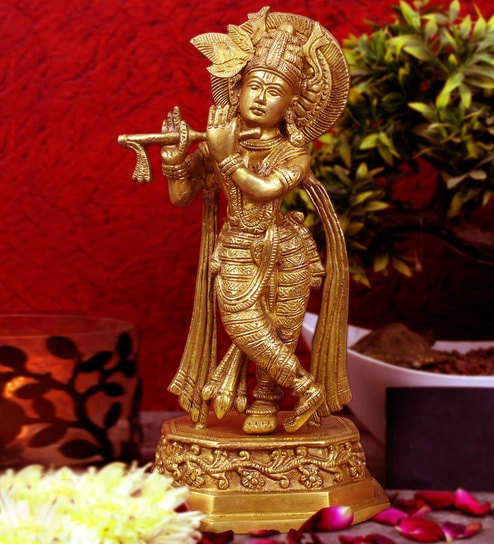 Gold Brass Lord Krishna With Flute Idol by Statue Studio