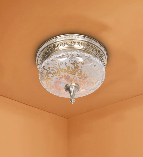 Gold Br Rous Etched Flush Ceiling Light By Fos Lighting