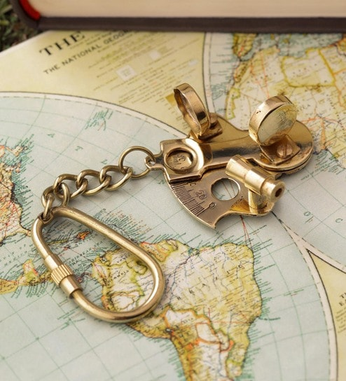 Gold Brass Sextant Key Chain by Anantaran