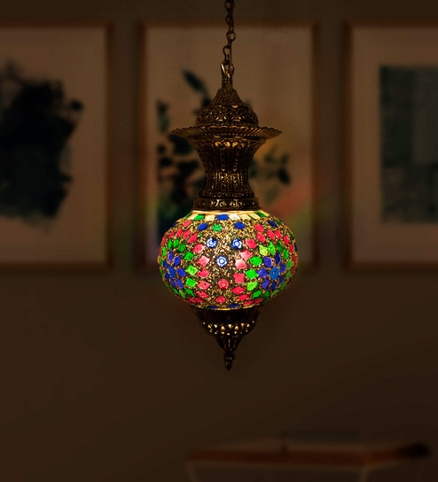 Gold Br Turkish Mosaic Gl And Pendant Light By Fos Lighting