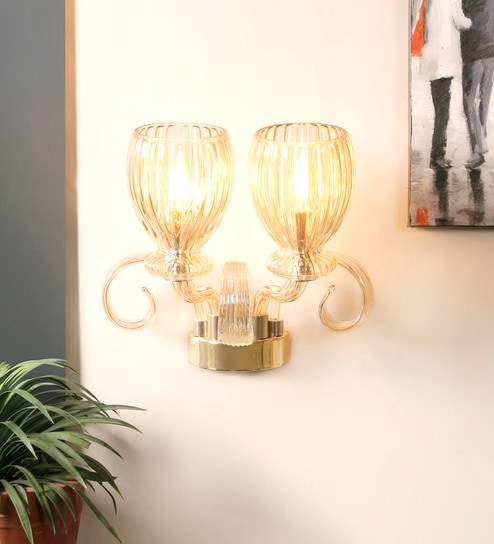 Gold Crystal & Metal Wall Mounted Light by Jainsons Emporio