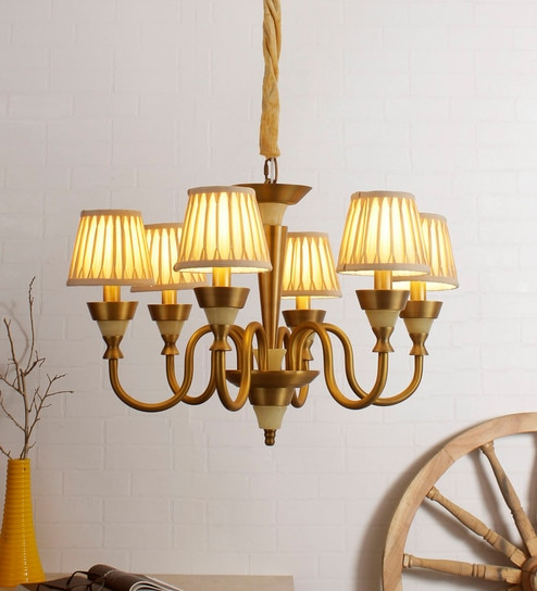 Buy Gold Glass Chandelier By Jainsons Emporio Online   Shaded Chandeliers    Chandeliers   Lamps U0026 Lighting   Pepperfry Product