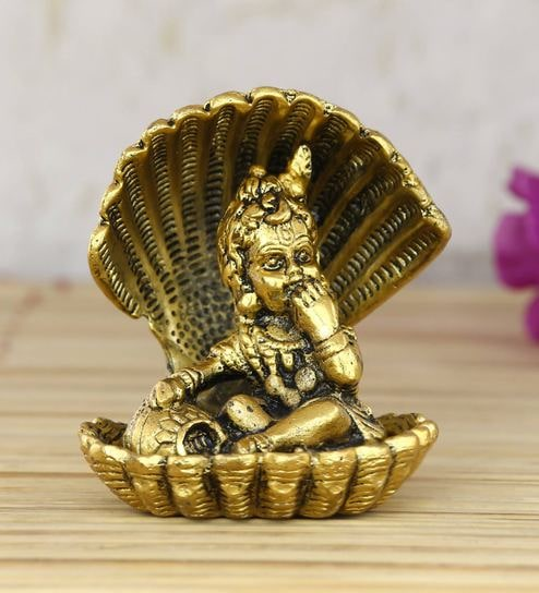 Gold Golden Bal Gopal Krishna Having Makhan Decorative Showpiece by  Ecraftindia