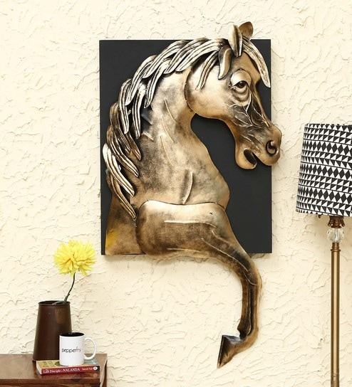 Gold Wrought Iron Horse Wall Art By Malik Design