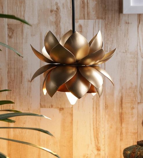 Gold Iron Sarowar Lotus Hanging Lamp by Courtyard