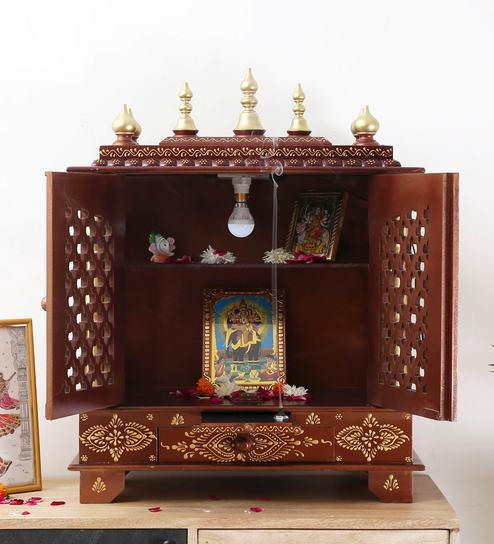 a990cd59e84 Buy Brown   Gold Mdf   Mango Wood Handcrafted Home Temple By Homecrafts  Online - Floor Rested Mandirs - Mandirs - Decor - Pepperfry Product