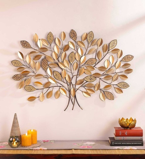 Gold Wrought Iron Glass Leaf Mosaic Tree Wall Art By Global Glory