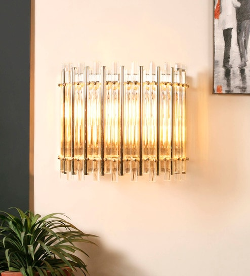 Gold Metal & Glass Wall Mounted Light by Jainsons Emporio