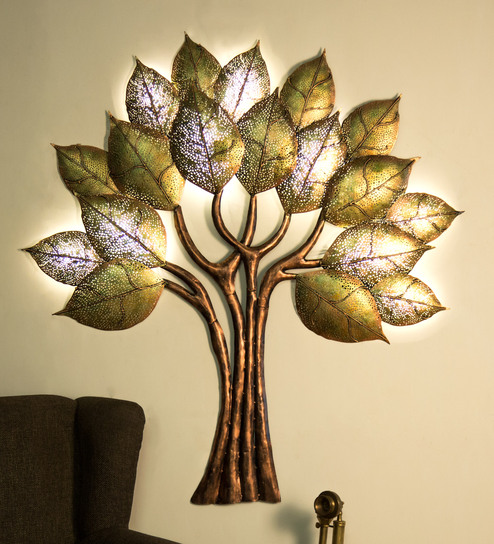 Buy Gold Metal 18 Leaf Led Tree Wall Art By AWESOME Online - Metal ...