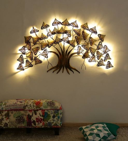 Gold Metal Antique Tree With Led Light Wall Hanging By Malik Design