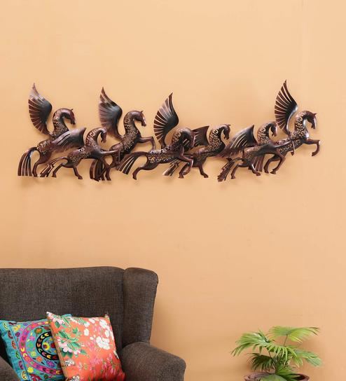 Brown Metal Flying Horse With Led Wall Hanging By Malik Design