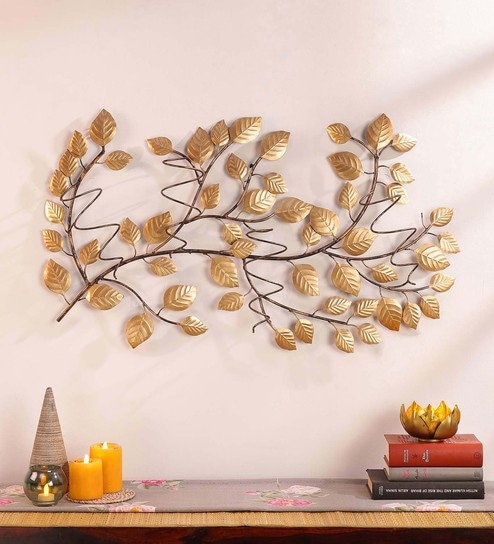 Buy Gold Metal Leaf Wine Bottle Holder Wall Art By Global Glory