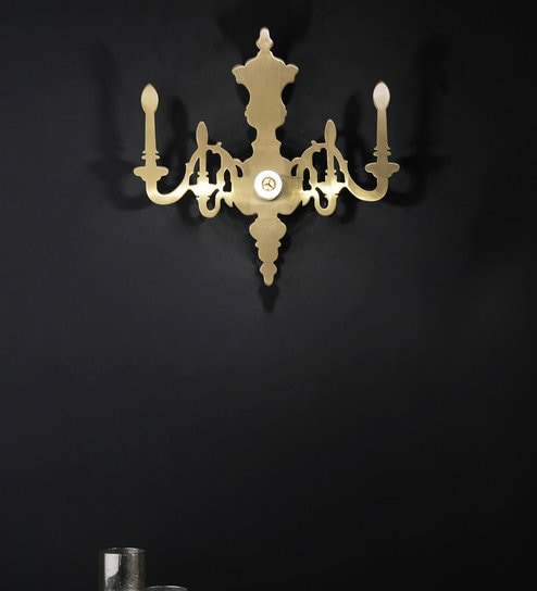 Gold Metal Lenora Wall Light by Jainsons Emporio
