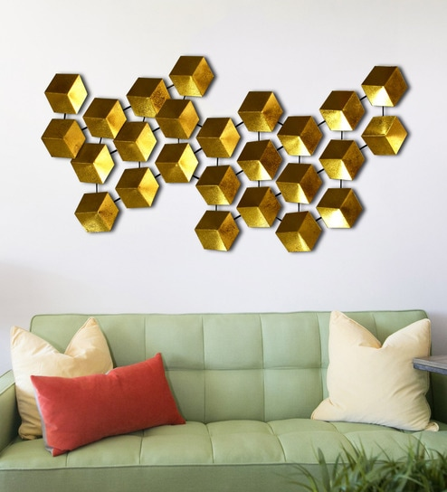 Gold Metal Unique Design Wall Art By Craftter