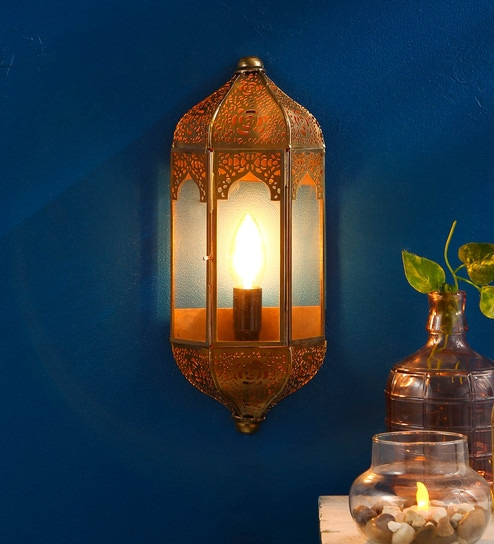 Gold Metal Vintage Moroccan Wall Sconce Light By Homesake