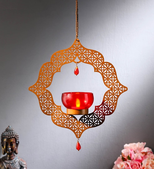 Gold Moroccon Hanging T Light Holder With Red Gl And Bonus By Dhatvi