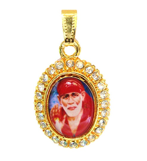 Gold plated and Stone Studded Sai baba Red color Pendant