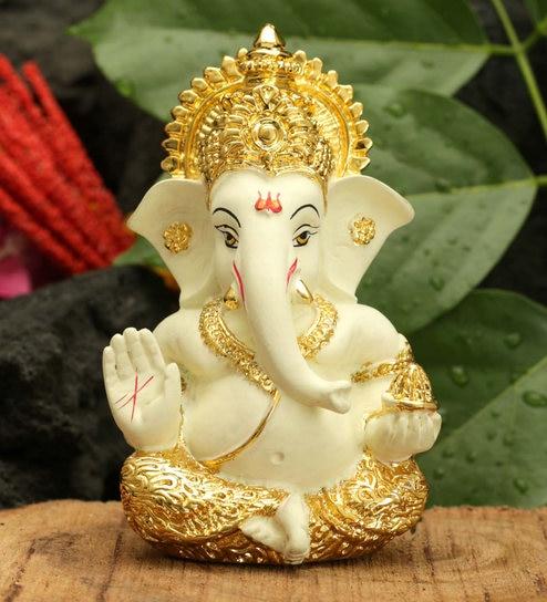 Buy Gold Plated Terracotta Lord Ganesha Idol By Craftvatika Online