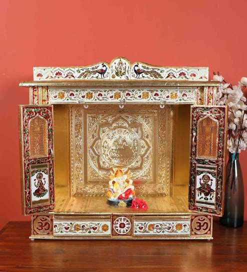 Gold Ply Wood Handmade Rajasthani Mandir with Door by Luxury Living Mandir  by Luxury Living
