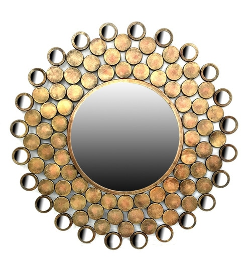 Verena Round Wall Mirror In Metallic Frame By Vedas