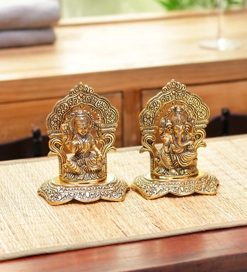 Golden Aluminium Laxmi and Ganesh Idol by GAC trend