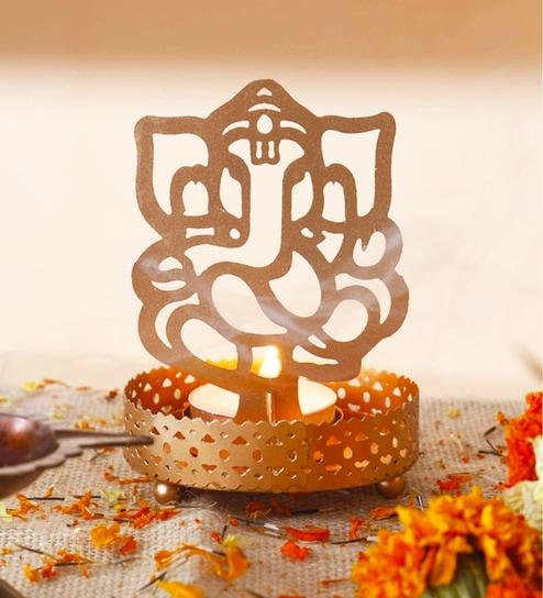 Golden Finish Metal Lord Ganesha Tealight Holder by Anasa
