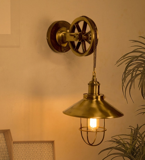 Wall Mount Light Amber Glass Lamp Shade Shop For Cheap Vintage Industrial Pulley Sconce
