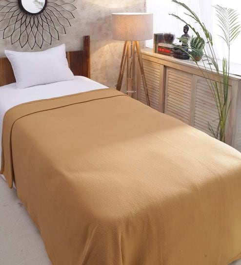 Golden Polyester 90 X 60 Inch Single Bed Blanket