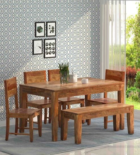 Marvelous Goldline Solid Wood 6 Seater Dining Set With Bench By Woodsworth Lamtechconsult Wood Chair Design Ideas Lamtechconsultcom