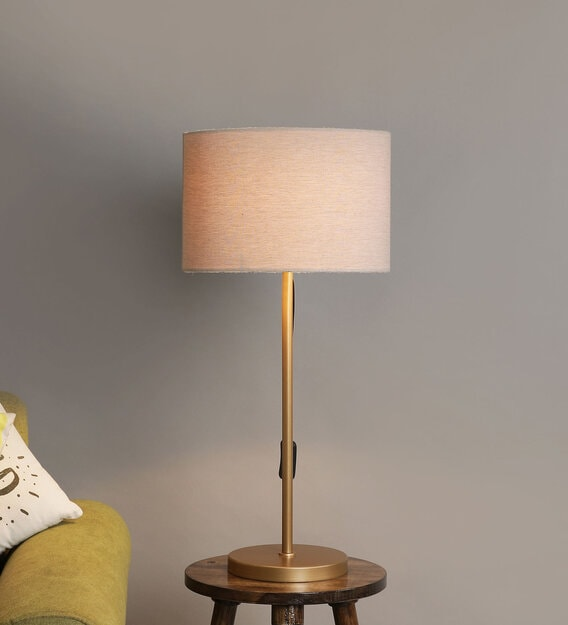 Gold Color Metal Table Lamp With, Metal Desk Lamps Uk