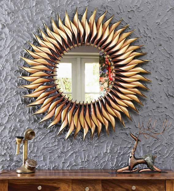 Buy Metal Round Wall Mirror In Yellow Colour By Malik Design Online Round Mirrors Wall Accents Home Decor Pepperfry Product