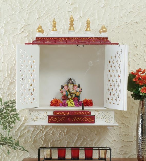 Buy Gold Sheesham Wood & MDF With Door Handicraft Temple by India Home Wood  Online - Wall Mounted Mandirs - Spiritual - Home Decor - Pepperfry Product
