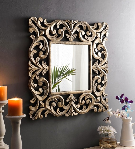Buy Solid Wood Square Wall Mirror in Gold colour by The Urban Store Online  - Square Mirrors - Wall Accents - Home Decor - Pepperfry Product